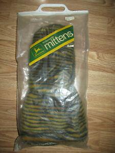 Vintage JOHN DEERE SNOWMOBILE MITTENS Mens Size M Green Yellow Striped Faux Fur