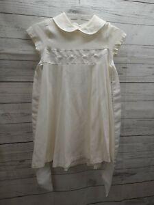 Vtg New York Bonnie Jean Girl Dress Ivory Size 6 Union Made Applique