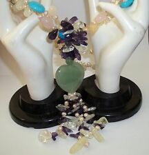 Jade Amethyst Turquoise Quartz Pearl Hand Crafted Bead Stone Necklace Heart Love