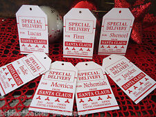 10 Kraft White Gift Tags SPECIAL DELIVERY SANTA Christmas Favour Personalised