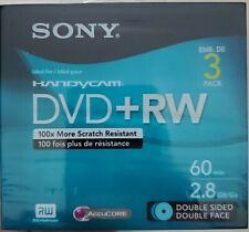Sony Handycam Mini DVD+RW 60min 2.8GB Double Sided Disc 3DPW30R2HC 3-pack Set