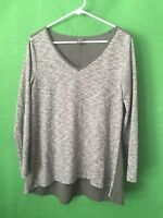 7535)  EDDIE BAUER medium olive green pullover knit top front and blouse back M