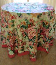 "Designer Pink Rose Chintz Tablecloth Custom Made ""Rhapsody"" Cyrus Clark 103"""