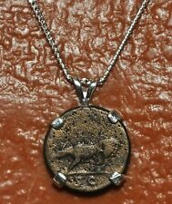 Romulus & Remus She Wolf Emperor Trajan Authentic Coin Sterling Silver Necklace
