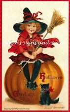 Vintage Halloween Fabric Block Postcard Brundage 5x8