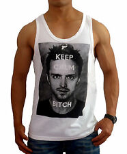 NEW MENS WHITE BREAKING BAD SINGLET KEEP CALM TANK TOP GYM FASHION CASUAL MUSCLE