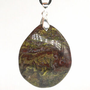 Natural Gemstone Dragon Bloodstone Stone Pendant Carved Stone Necklace Jewelry