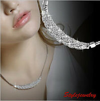 Silver Rhodium Filled Made with Swarovski Crystal Twisted Necklace N134