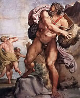 Oil painting annibale carracci - Nude strong man the cyclops polyphemus canvas