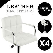 4x PU Leather Bar Stool Kitchen Chair Armrest Swivel Footrest White Chrome