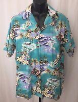 Hilo Hattie Size Large Men's Hawaiian Tropical Aloha Shirt Ukulele Palm Hibiscus