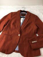 J. Crew Women's Sz 10 Campbell Jacket Blazer Linen Rust Fully Lined NWT