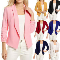 Womens 3/4 Sleeve Blazer Short Cardigan Suit Jacket Open Front Work Office Coats