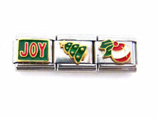 Stainless Steel 9MM Italian Charms - 3 Holiday Link Charms JOY Tree Bulb