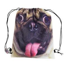 Cute Pug Drawstring Bag Kids Dog School Gym Swimming Pe Sports Lunch Backpack Uk