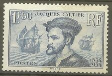 "FRANCE STAMP TIMBRE 297 "" JACQUES CARTIER, BATEAU, CANADA 1F50"" NEUF xx TTB B482"