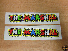"Valentino Rossi style text - ""THE MARSHAL""  x2 stickers / decals  - 5in x 1in"