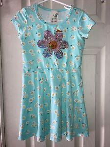 LILY BLEU LITTLE GIRLS GREEN FLORAL PRINT SILVER/GOLD FLOWER SZ 5 NWOT