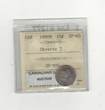 1880H Obv#2  ICCS  Graded Canadian,  ¢10  Cent, **SP-65**