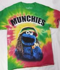 Sesame Street Men's MUNCHIES T-Shirt Sz Medium M Cookie Monster Adult Rasta