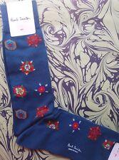 Paul Smith Mens Italian Socks Tudor Rose Petrol Blue K576 One Size Cotton