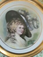Vintage Osborne China 24K Gold Hand painted Victorian Portrait Plate Joh Peters