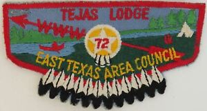 OA Tejas Lodge 72 Twill Flap RED Bdr. East Texas Area Council [TK-364]