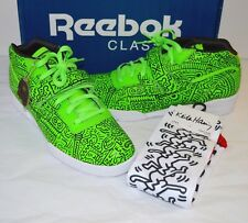 New Reebok Keith Haring Workout Mid Strap INT Neon Green/Black 9.5 Art w/Socks