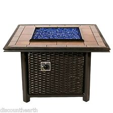 Dreffco Square Wicker Fire Pit Table Outdoor in Natural or Propane Gas