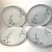 4 VINTAGE CHERRY BLOSSOM PORCELAIN DINNER PLATES 10 1/4'' JAPAN