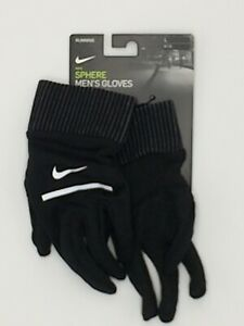 New Nike Sphere Gloves Running Black/Silver Reflective Men's Large DRI-FIT TECH
