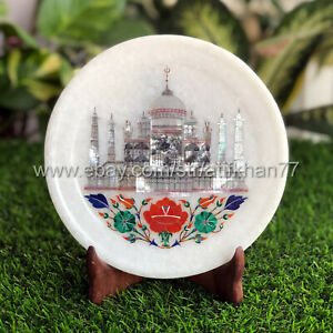 Taj Mahal Wall Decorative Plate Marble Inlay Collectible Plaques