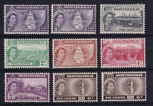 MONTSERRAT 1953-62 QEII Definitive Part Set to 24c (Missing 3c SG139a) LMM