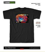 Super Metroid (SNES,1994) Game Cartridge Label T Shirt Tee Size Small Mens NEW