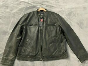 NWT LUCKY BRAND Bonneville Racer Black Leather Motorcycle Jacket Mens XXL NEW