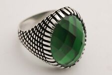 Turkish Jewelry Shiny Oval Shape Emerald 925 Sterling Silver Men's Ring All Size