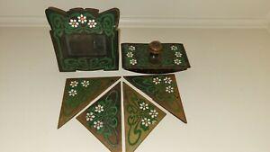 The Art Crafts Buffalo Shop Copper Stamped Enameled Mission Desk Set C. 1905