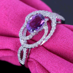 7x5mm Amethyst Natural SI/H Diamonds Gemstone Ring Jewelry Solid 10k White Gold