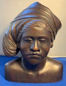 "VTG Teak Heavy Wood Carved women Art Sculpture Bust Wearing Head Wrap 10"" tall"