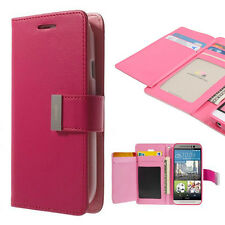 Korean Mercury Rich Diary Double Wallet Case Cover for HTC one M9 - Hot Pink