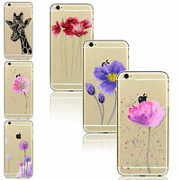 For iPhone 4S 5 6 6S 6 Plus Cute Pattern Transparent Thin Soft TPU Case Cover