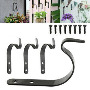 8pcs Garden Hanging Wall Brackets Outdoor Basket Plant Pot Hanger Hook Decor JP
