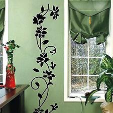 Black Rattan Flower Wall Sticker Vinyl Decal Home Living Room Decor Mural DIY