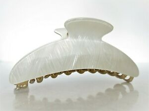 Large pearl white design hair claw clip for thick hair
