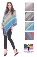 Women Boho Hoodie Cape Blue Zig Zag Poncho Sweater Twist Front Cozy Pullover
