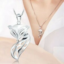 Lovely Hollow Long Tail Fox Pendant Necklace for Women Girl