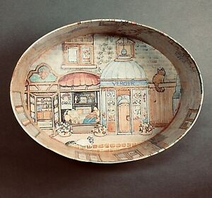 MARKINGS Vtg Italian Oval Nesting Boxes, French Village Scenes, Vintage