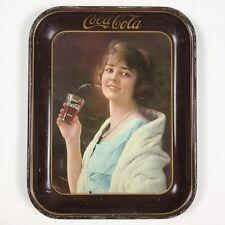 Original 1923 Coca-Cola Serving Tray Flapper Girl in Blue Dress w/ Glass of Coke