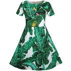 Girls Dress Green Leaf Print Pineapple Dragonfly Sundress Size 5-10