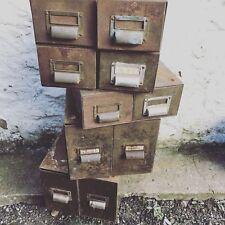 Vintage Set of 4 Green Double Metal Filing Cabinet Index Drawers Industrial Chic